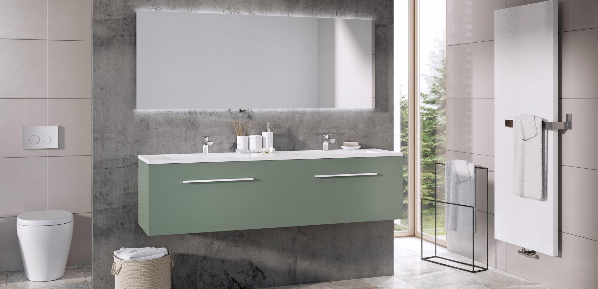 Matrix-groen-mat-met-greep-ST15-wastafel-Thin-wit-mat-mijn-bad-in-stijl